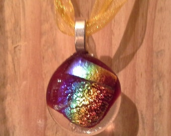 Rainbow Dichroic on Red glass and Organza RibbonYellow
