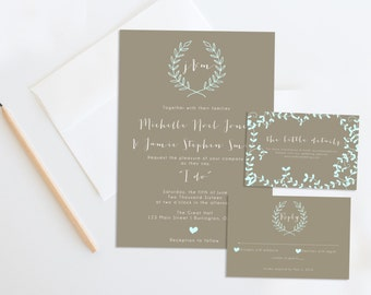 Printable Wedding Invitation Set, Rustic Wedding Invitation, Wedding Invites, Kraft Wedding Invitation