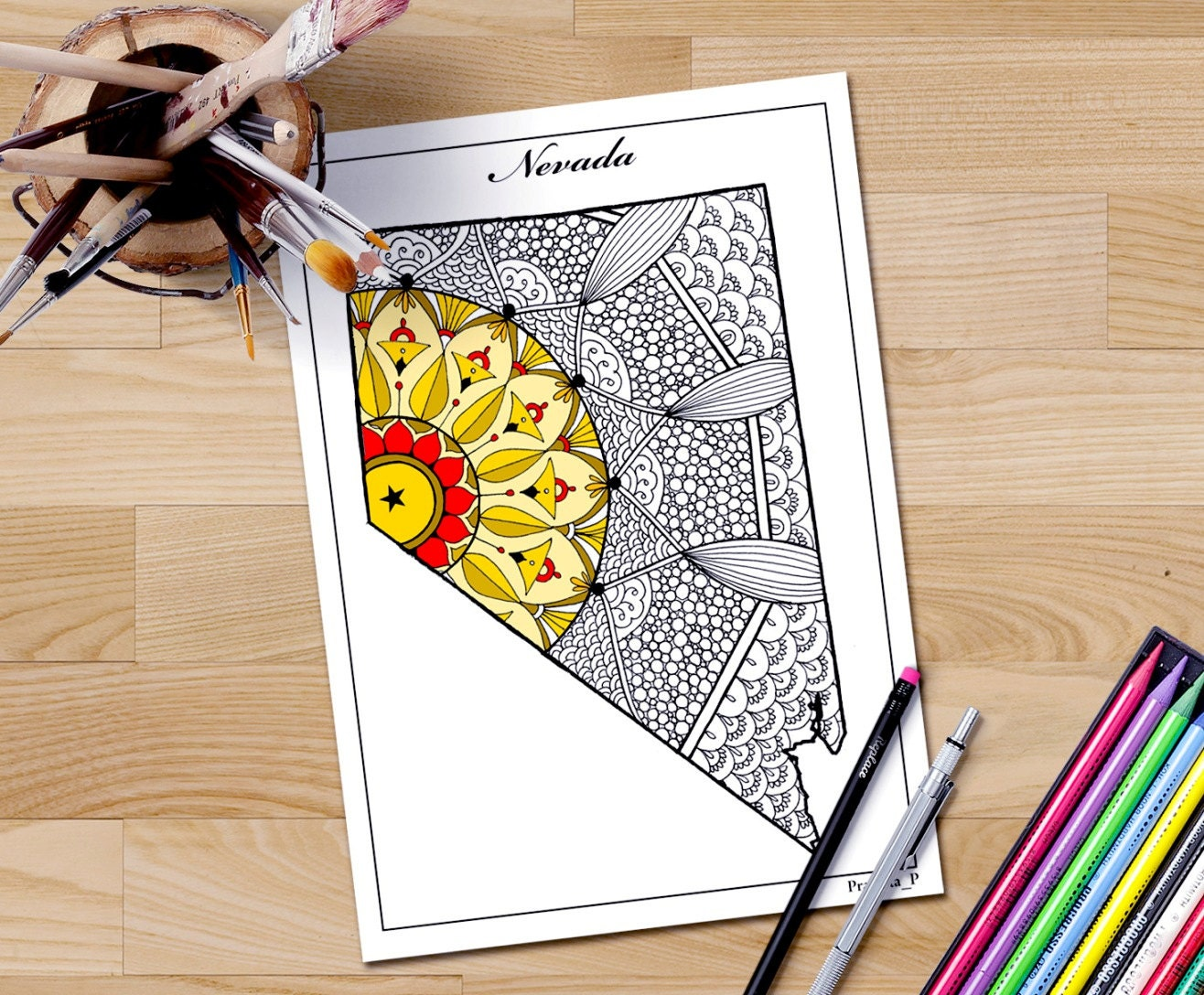 coloring page nevada state map usa map coloring