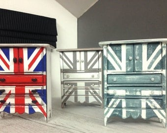 1:12 Miniature Cabinet Drawers Cupboards - Custom Painted Union Jack  - Distressed Shabby Chic  - OOAK Elegant Dolls House Furniture