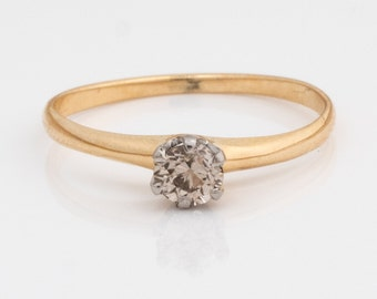 Circa 1930 Art Deco Solitaire .25cttw Fancy Brown Diamond Engagement Ring, ATL #538
