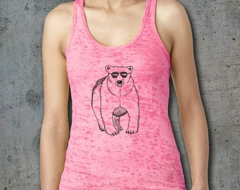 Burnout tank, Bear shirt, Womens Tank, Animal Tank, Racerback tank, Workout clothes, Tank Top, Polar bear shirt, Wild animals, Yoga top