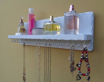 Necklace Shelf - Jewelry Organizer - (28) White Hooks - Distressed White Finish - Other Colors Available - Hangers Pre-Installed -