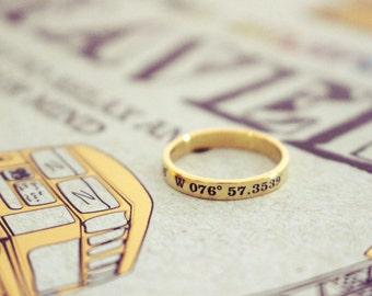 30% OFF* Dainty Coordinates Ring - Stackable Band - Latitude Longitude Ring - Personalized Latitude Longitude Jewelry - Location Ring