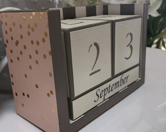 Perpetual wooden block calendar, desk calendar, blush pink and gold polka dot calendar, blush and gold perpetual calendar. Pink and gold.