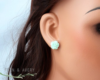 Mint green rose flower post earrings, sterling silver, elegant dainty