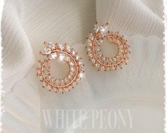 """Greek Goddess Bridal Crystal Rose Gold Laurel Leaf Earrings-Cubic Zirconia CZ Vintage Grecian Leaves Studs Earrings-""""ARTEMIS luxe rose gold"""""""