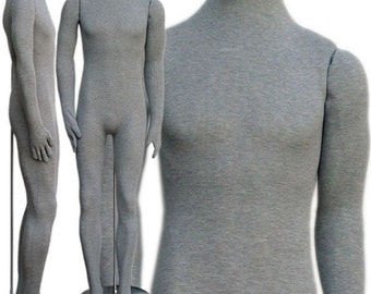 Soft Flexible Headless Male Body Form - Display different Pose!