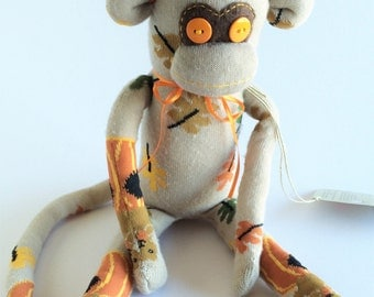 50% OFF-Sock Monkey-Fall-Handmade-Leaves, Squirrels,Pumpkin-Monkey-Plush-Tan, Orange, Brown *one of a kind*