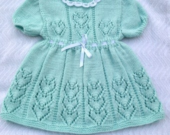 Knit baby dress, soft green knit dress, knit girl dress, hand knit baby dress, Easter dress, spring girl knit dress