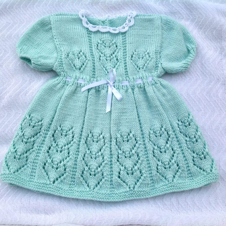 Hand Knitted Dress Patterns : Knit baby dress soft green knit dress knit girl dress hand