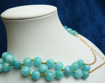 Aquamarine necklace aquamarine beaded necklace march birthstone necklace aquamarine jewelry gemstone necklace on sale