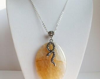 snakeskin agate pendant/snakeskin agate necklace/snake necklace/agate gemstone jewelry/agate and snake necklace/healing stone jewelry