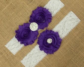 Bridal Garter Set, Purple Garter, Purple Garter Set, Purple Bridal Garter, Purple Wedding Garter, Lace Garter, Lace Garter Belt, SCWS-P06
