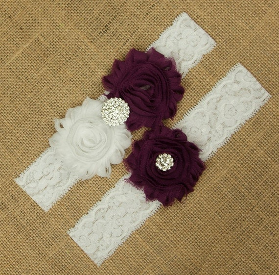 Red Wedding Garters: Red Plum Wedding Garter Flower Garter Belt Wedding Garter