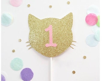 Any Number Kitty Cat Cake Topper, Cat Cake Topper second birthday, first birthday, one, two, Cat Birthday Theme, Meow, smash cake, prop