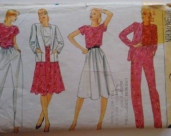UNCUT 80's Vogue Sewing Pattern 8045 Summer Wardrobe Jacket T Shirt Top Skirt and Trousers Size Small