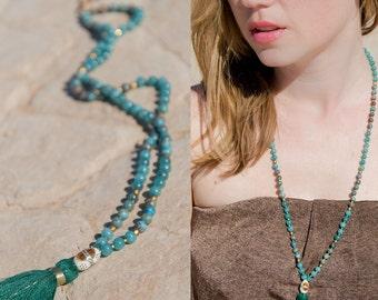 CARAVAN mala CAMEL BONE Jade and Jasper necklace // Camel Bone / Silk tassel / gold glass Bohemian Jewelry