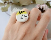 Lady with a twig Illustrated ring Porcelain jewellery Ceramic ring Ceramic jewelry Whimsical jewellery Gift for women Quirky gifts