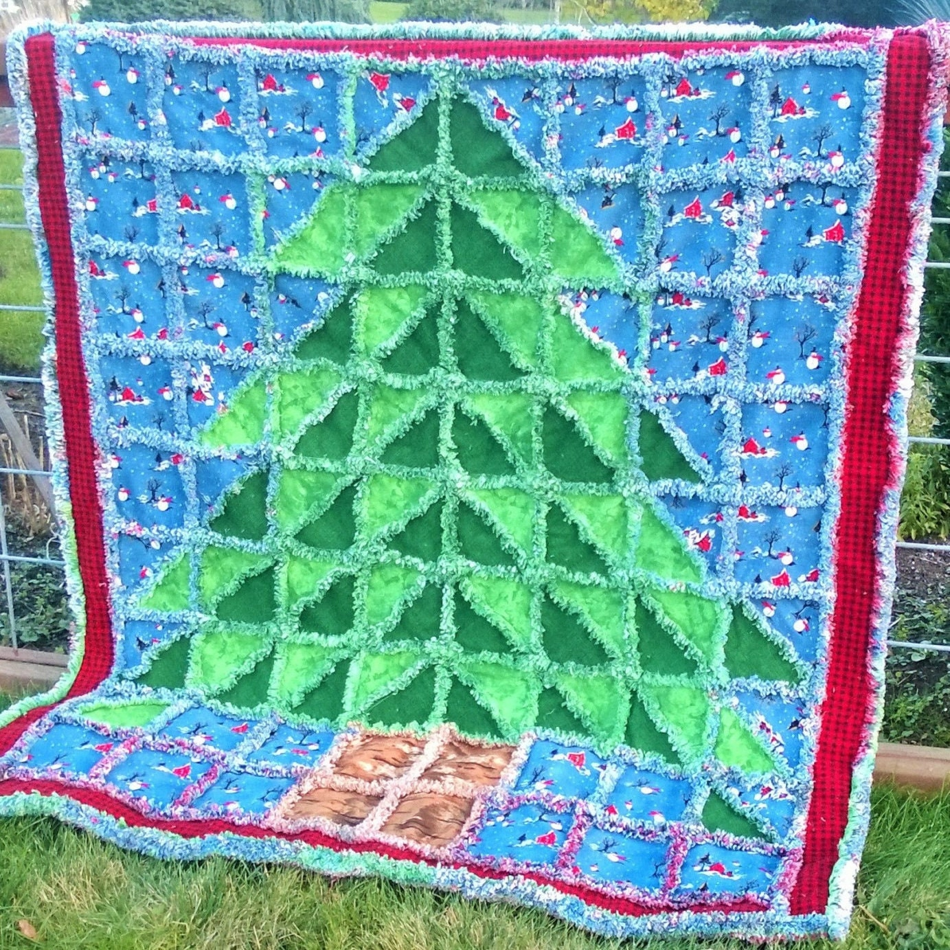 OH Christmas Tree Rag Quilt Pattern