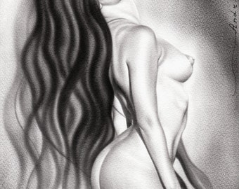 Female Nude Fine Art Naked Woman Limited Edition Print Of An Original Erotic Oil Painting Drawing By Artist Signed Realism
