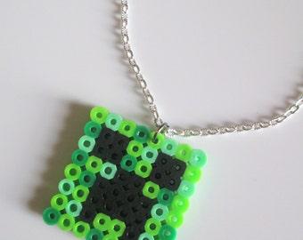 Minecraft Creeper Kandi Perler Bead Art Chain Necklace