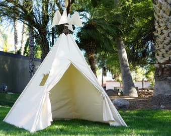XL plain teepee, 8ft kids Teepee, beach tent, large tipi, Play tent, wigwam or playhouse with canvas and Overlapping front doors