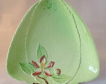Carlton Ware Green Triangular Shallow Dish with Embossed Apple Blossom Design – some minor damage