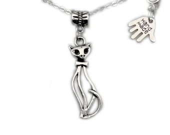 silver cat necklace, cute cat. fashion jewellery, cat charm necklace, handmade necklace, silver necklace, cat jewellery, animal, uk