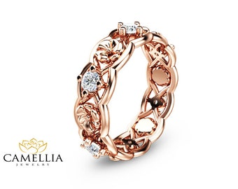 14K Rose Gold Diamond Eternity Ring Unique Diamond Wedding Ring  Rose Gold Anniversary Ring Solid Gold Floral Ring
