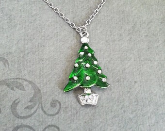 Christmas Tree Necklace Evergreen Necklace Christmas Jewelry Stocking Stuffer Xmas Necklace Holiday Jewelry Green Tree Charm Necklace Silver
