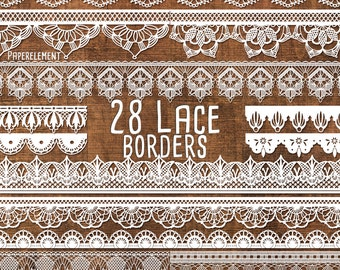 Lace Border Clipart Pack: Lace Border Clip Art, Lace Trim, Lace Vector, Wedding Clip Art Images, White Lace Digital Border, Wedding Graphics