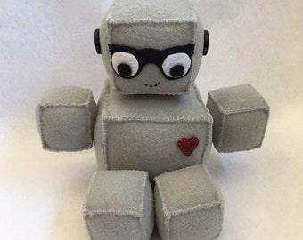 robot plush, computer geek plush, robot nerd glasses, robot stuffed animal, hipster glasses stuffed animal, stuffed robot, grey felt, robot