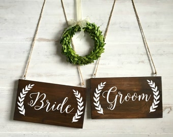 Bride and Groom Chair Signs, Rustic Wood Wedding Signs, Rustic Wedding Decor, Sweetheart Table Signs, Wedding Photo Prop
