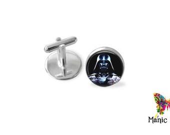 Darth Vader Cufflinks Silver or Antique Bronze plated Star Wars cufflinks - 16mm photo under a glass seal Darth vader cuff links