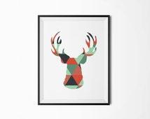Retro deer head, Antlers poster, Retro pattern, Modern poster, Scandinavian poster, Printable deer head, Printable antlers, Printable poster