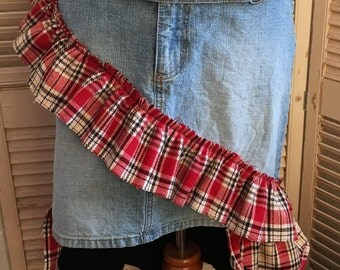 Are You Kilting Me~ Upcycled Denim Skirt, Recycled, BoHo, Repurposed, OOAK,Small, Med,Festival, Repurposed,Bohemian