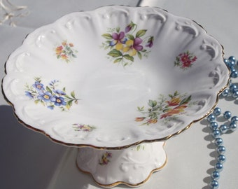 "Beautiful Pedestal Plate Queen""s series made by Rosina, Fine Bone China Co Ltd in England."