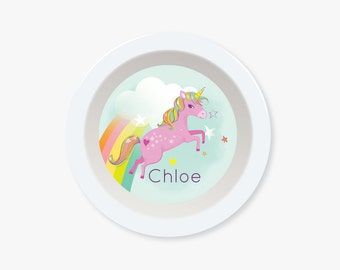 kids BOWL, plate for girls, personalized bowl, cereal bowl, custom, unicorn , bowl for kids