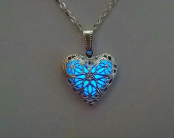 Glowing Locket - Heart Necklace - Wife gift - Easter Gift - Glow in the Dark Pendant - Glowing Charm - Bridesmaid Necklace - Gifts for Her