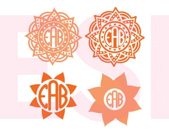 Flower, Mandala monogram svg, Circle monogram Frame svg, Summer svg files, SVG, DXF, EPS, use with Silhouette Studio & Cricut Design Space.