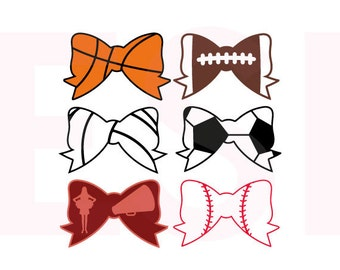 Sports Bow designs set, SVG, DXF, EPS, cutting files for use with Silhouette cameo and Cricut Explore. Baseball, Football etc.