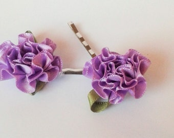 Flowergirl Hairpins, Carnation Bobby Pins, Lilac Hair Pins, Satin Ribbon Hair Grips, Wedding Pins, Flower Bobby Pins, Bridesmaid Hairpins