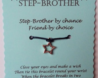 Step-Brother gift, gift Step-Brother String Wish Bracelet Cord Wish Bracelet  Keepsake Card, Stepbrother card, Stepbrother gift, stepbrother