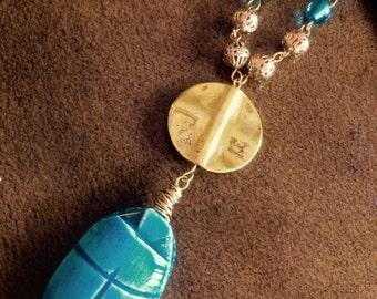 Egyptian Blue ~ Scarab Pendant Necklace