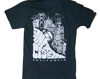 San Francisco T-Shirt with cable car and golden gate bridge S-2XL