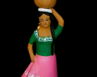 Mexican Folk Art Irene Aguilar Muneca Pottery Ocotlan de Morelos, Oaxaca Mexico Collectible