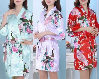 Bridesmaid Robes Set of 5 - Bridesmaids Floral Robe - Bridesmaids Gift - Bridesmaids Satin Robe