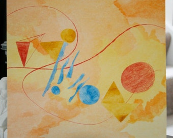 Original Abstract Watercolor Collage - Summer at the Beach - Modern Home Decor