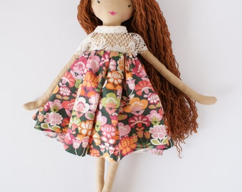 Bohemian doll, Red haired doll, 18 inch doll, rag doll, stuffed doll, bciloveyou, heirloom doll
